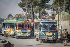 Kleurrijke bussen van Quetta Stock Fotografie