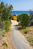 Kleurrijke cabines op Brighton Beach stock fotografie
