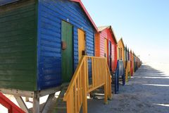 Kleurrijke Cabines op Muizenberg-Strand Zuid-Afrika stock fotografie