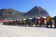 Kleurrijke Cabines op Muizenberg-Strand Zuid-Afrika stock foto's