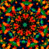 Kleurrijke caleidoscopische kunstillustratie Het ontwerp van de beeldsamenstelling Creatief afficheidee Fantasie gevlekte achterg Royalty-vrije Stock Afbeeldingen