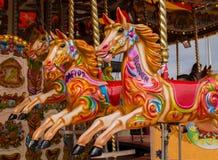 Kleurrijke Carrouselpaarden Stock Foto