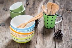 Kleurrijke ceramische koppen Royalty-vrije Stock Foto