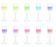 Kleurrijke champagneglazen Stock Afbeelding