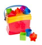 Kleurrijke childsstuk speelgoed vormsorteerder op een achtergrond Royalty-vrije Stock Afbeelding