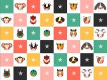 Kleurrijke Chinese Dierenriem 12 de Dierlijke Raad van het Tekensschaak Diamond Background Stock Foto's