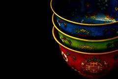 Kleurrijke Chinese Kommen Royalty-vrije Stock Foto's