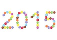 2015 in kleurrijke chocoladeknopen Stock Afbeeldingen