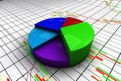 Kleurrijke cirkeldiagramgrafiek met de achtergrond van de kandelaarsgrafiek Stock Afbeelding