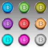 Kleurrijke cirkels met bitcoinsymbool Royalty-vrije Stock Afbeelding
