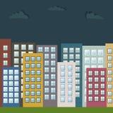 Kleurrijke Cityscape bij Nacht, Real Estate Royalty-vrije Stock Afbeeldingen