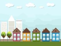Kleurrijke Cityscape, Real Estate Royalty-vrije Stock Foto's