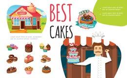 Kleurrijke Concept van beeldverhaal het Smakelijke Desserts royalty-vrije illustratie