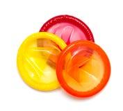 Kleurrijke condomen Royalty-vrije Stock Afbeeldingen