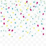 Kleurrijke Confettien die op Transparante Achtergrond vallen Vector Stock Afbeelding