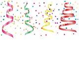 Kleurrijke Confettien en Wimpellinten die op Witte Achtergrond vallen Vector Royalty-vrije Stock Afbeelding