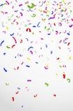 Kleurrijke confettien op witte achtergrond voor viering Stock Afbeeldingen