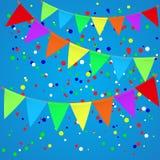 Kleurrijke confettienachtergrond met vlaggen Royalty-vrije Stock Afbeeldingen