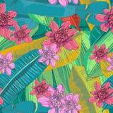 Kleurrijke, creatieve en modieuze exotische wildernisbanaan en palmbladen met de exotische vector van het bloemen naadloze patroo Royalty-vrije Stock Fotografie