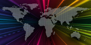 Kleurrijke 3d achtergrond met gestippelde wereldkaart, abstracte golven, lijnen, punten Heldere kleurenkrommen, werveling Motieon Stock Foto