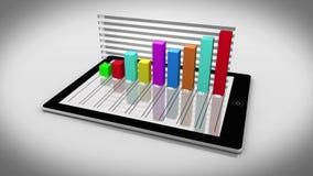 Kleurrijke 3d grafiek op tabletpc stock illustratie