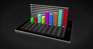 Kleurrijke 3d het groeien grafiek op tabletpc vector illustratie