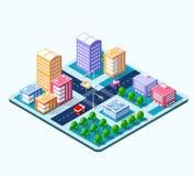 Kleurrijke 3D isometrische stad Vector Illustratie