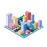 Kleurrijke 3D isometrische stad Royalty-vrije Illustratie