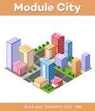 Kleurrijke 3D isometrische stad Stock Illustratie
