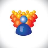 Kleurrijke 3d pictogrammen of tekens van communautaire leden & leider Royalty-vrije Stock Afbeeldingen