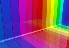 Kleurrijke 3D Weerspiegelende Stroken Creatieve Achtergrond Stock Foto