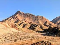 Kleurrijke Danxia-landforms in Gansu-Provincie, China stock afbeelding