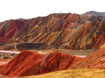 Kleurrijke Danxia-Topografie, Zhangye, Gansu, China Stock Foto