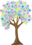 Kleurrijke de boomillustratie van de pastelkleurbloem Royalty-vrije Stock Foto's