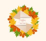 Kleurrijke de herfstbladeren op een oud retro document Stock Foto's
