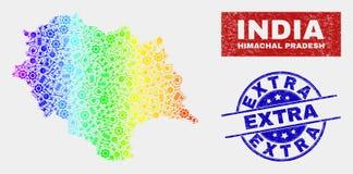 Kleurrijke de Kaart en de Nood Extra Verbindingen van de Staat van Fabriekshimachal Pradesh royalty-vrije illustratie