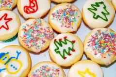 Kleurrijke de kopcakes van Kerstmis Stock Fotografie
