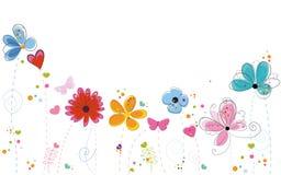 Kleurrijke de krabbelbloemen van de de zomertijd Stock Foto