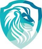 Kleurrijke de leeuwbescherming van het voorraadembleem Stock Afbeeldingen