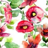 Kleurrijke de lentebloemen, naadloos patroon Stock Afbeeldingen