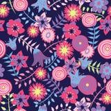 Kleurrijke de Lentebloemen op donkerblauwe achtergrond royalty-vrije illustratie