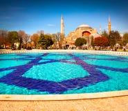 Kleurrijke de lentescène in Sultan Ahmet-park in Istanbu Stock Foto