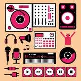 Kleurrijke de muziekreeks van DJ. Royalty-vrije Stock Foto