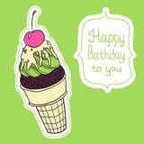 Kleurrijke de verjaardagskaart van de roomijskegel Stock Foto