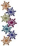 Kleurrijke de wintergrens van sneeuwvlokken Stock Afbeeldingen