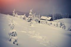 Kleurrijke de winterzonsopgang in het mountailandbouwbedrijf Stock Foto