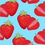 Kleurrijke de zomerachtergrond met rode sappige aardbei Stock Afbeelding