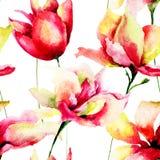 Kleurrijke de zomerbloemen, naadloos patroon Stock Afbeeldingen