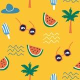 Kleurrijke de zomerkrabbel die naadloos patroon trekken royalty-vrije illustratie