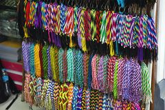 Kleurrijke decoratieve koorden, Lima, Peru Royalty-vrije Stock Foto's